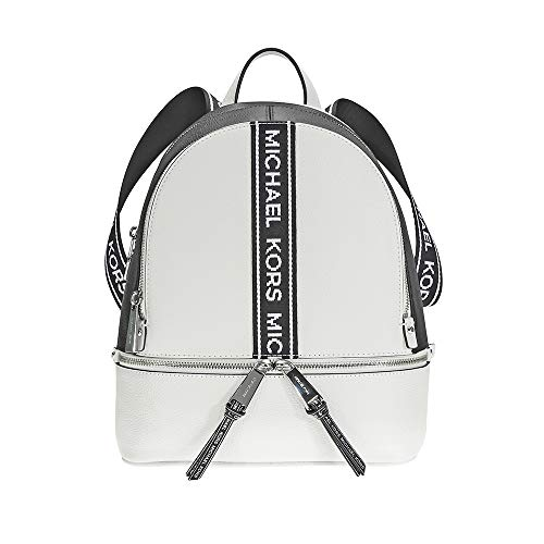 - Michael Kors Rhea Medium Logo Tape Backpack OPTICWHT/BLK