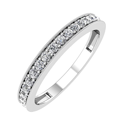 1/4 ctw Milgrain Diamond Wedding Band in 14K White Gold - IGI Certified