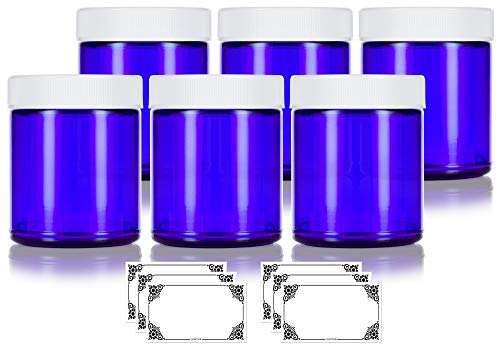 Cobalt Blue Glass Large Straight Sided Jar - 9 oz / 270 ml (6 Pack) + Label - Airtight, Smell Proof, BPA Free ()