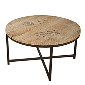 NACH vv-367 Industrial Style Wood Round Coffee Table