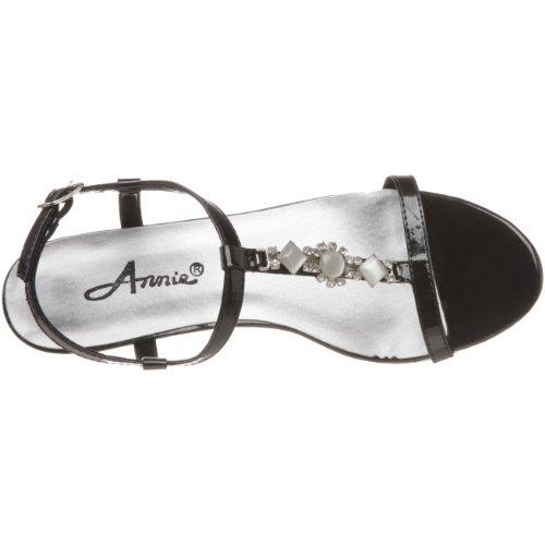 Annie Skor Kvinna Ljusa T-rem Sandal Black Patent