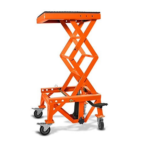 Hydraulic Scissor Lift Dolly ConStands Moto Cross XL + Castors Orange for KTM 990 Adventure/R/S