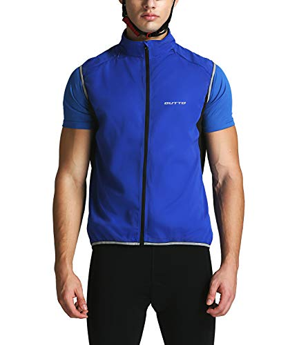 - Outto Men' Reflective Running Cycling Vest for Safty and Windproof(Large,17B4 Blue)