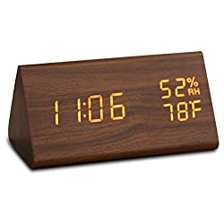 JCHORNOR Wood Digital Alarm Clock,Led Wooden Digital Desk Clock with USB Charger,Time Date Temperature 3 Levels Warm Brightness Humidity in 2 Display Model Clock for Bedroom/Office/Kid Room
