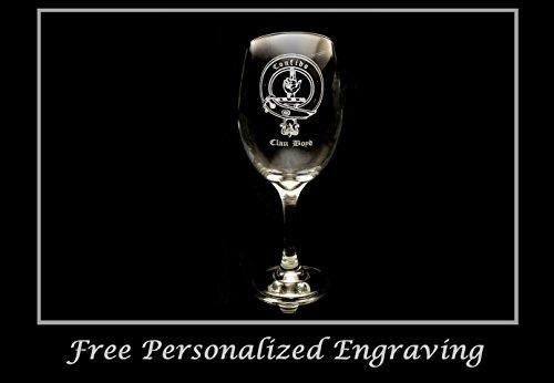 (Boyd Family Scottish Clan Crest - Clear Wine Glass 18oz - Free Personalized Engraving, Large Wine Glass, Celtic Decor, Scottish Wedding)
