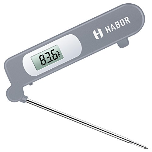 Meat Thermometer, Habor Instant Read Thermometer Accurate Cooking Thermometer Kitchen Thermometer with Digital LCD, Fordable Long Probe for Food Christmas Turkey, Candy, Cake, Milk, BBQ Grill (Food Thermometer Kit)