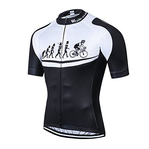 Men's Cycling Jersey Short Sleeve USA Youth Bike Top Bicycle Jacket Black White Size S