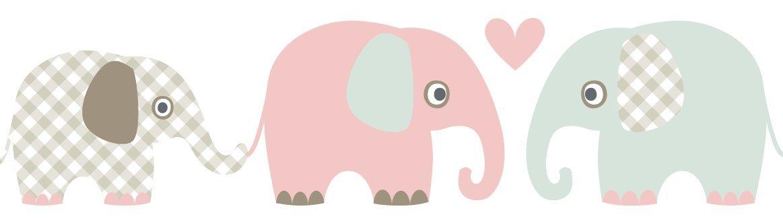 lovely label, bordo autoadesivo, 450 x 11,5 cm, con motivo di elefanti, grigio/marrone-menta-rosa/scuro