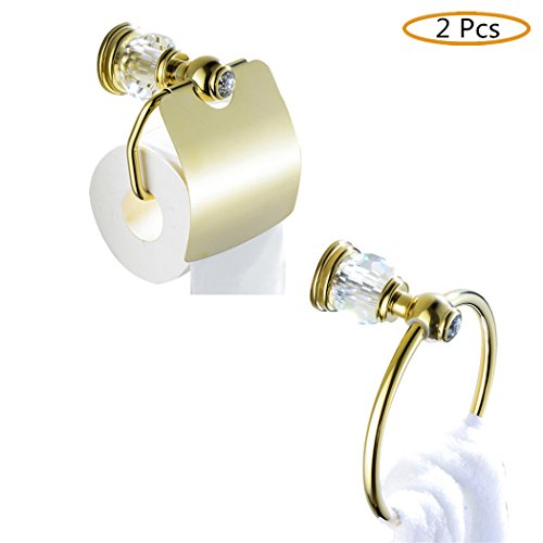 WINCASE All Brass Construction Bathroom Accessory Set 2pcs Polished Gold Towel Holder Paper Holder with Cover Wall Mounted Luxury European Style by WINCASE (Image #8)