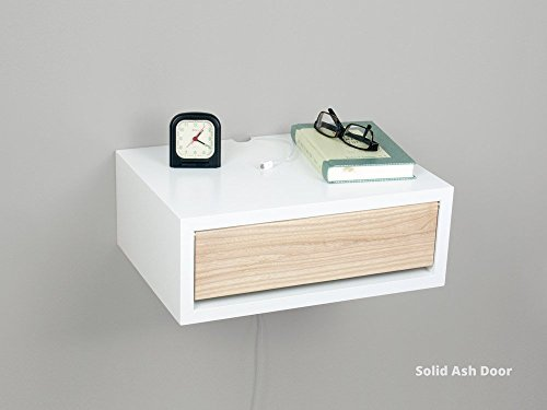 White Contemporary Floating Nightstand, Wall Mount Nightstand, Side Table, Bedside - Oak Mdf Desk