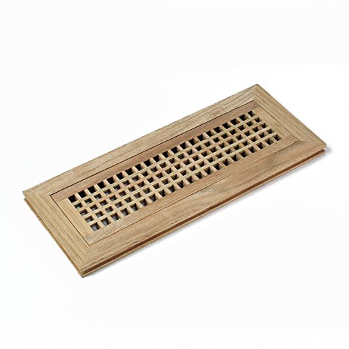 (4 X 14 Inch Red Oak Wood Flush Mount Egg Crate Vent Floor Register Cover Grille Unfinished by WELLAND, 3/4