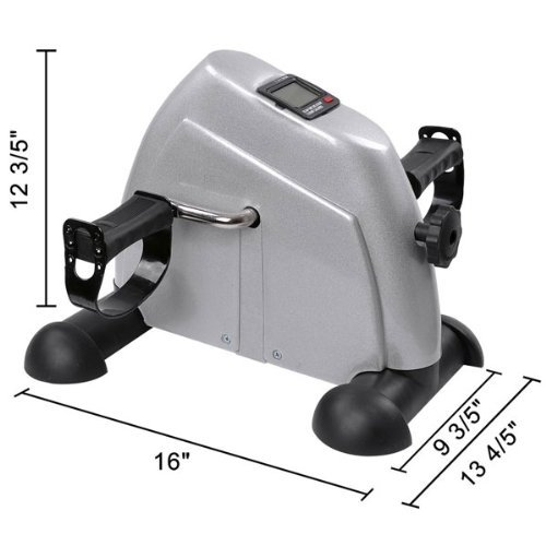 Portable Silver Mini Arm Leg Pedal Exercise Bike: Suitable for Upper & Lower Body Lightweight 7.7 LB w/ Multi-functional LCD Monitor Displays for Physical Therapy Exerciser Personal Care Cycling