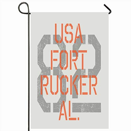 Ahawoso Outdoor Garden Flag 12x18 Inches Badge United Orange Fort Military Sport Graphics Recreation Round Corps Army Vintage Rucker Tee Armed Home Decor Seasonal Double Sides House Yard Sign Banner