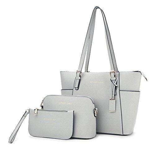 clutches Bolsos Set Carteras de bolsos mano y 3pcs hombro y bandolera Shoppers de Mujer Gris PTqwXX