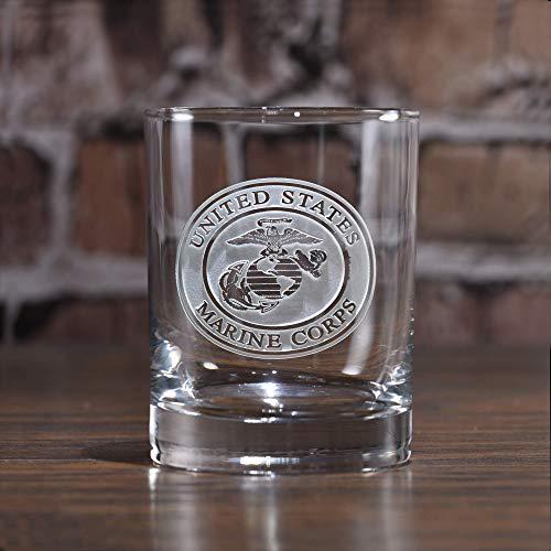 (Engraved Marines Whiskey Scotch Bourbon Glasses)