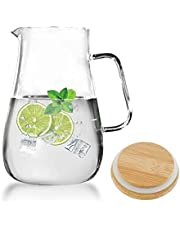 Luvan 68oz Glass Water Pitcher with Natural Bamboo Lid,3.74inch Wide Mouth to Easily Add Ice or Fruit,and Easy to Clean/Beverage Jug Carafe with a Wide Handle,Great for Juice,Water,Coffee,Tea etc