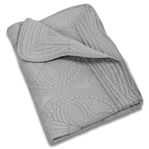 MONOBLANKS Cotton Baby Quilt Personlized Monogram Lightweight Embossed Scalloped Throw Blanket Four Seasons (Gray)