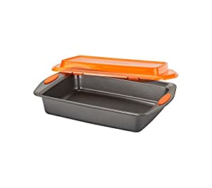 "Rachael Ray 9""x13"" Gray with Orange Lid And Handles Nonstick Bakeware Covered Cake Pan"