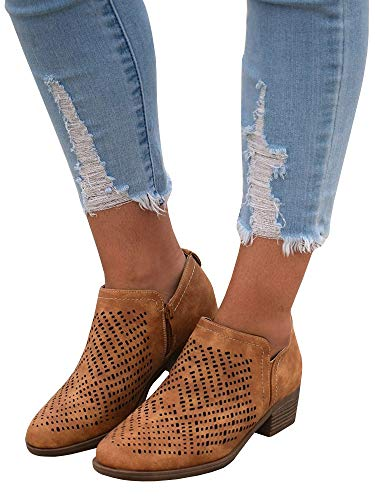 Ankle Low Chunky brown Side Faux Booties Z Leather Heel Ermonn Toe Closed Zip Womens Block zqgn1PwH