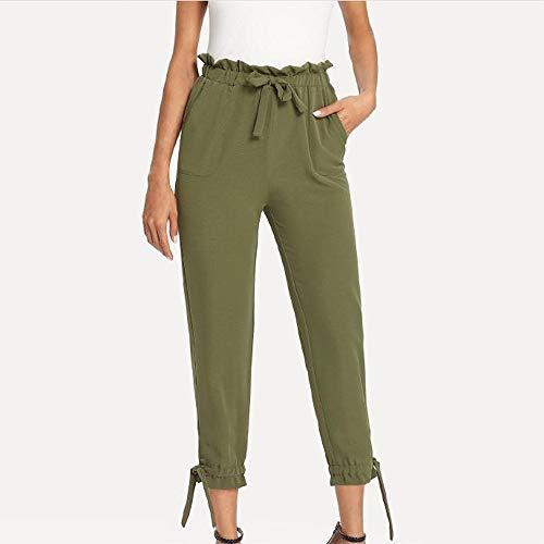 UONQD Womens Ladies Bow Pocket Trousers Long Pants Slim fit Leggings (Medium,Green) by UONQD (Image #1)
