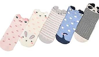 Honanda Kid Girl's Cute Animal Pattern Stripe knee High Socks 5 Pairs
