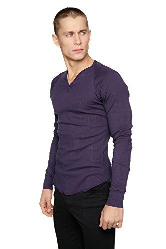 (4-rth Men's Ribbed Thermal V-Neck Long Sleeve Henley (Medium, Eggplant (Purple)))