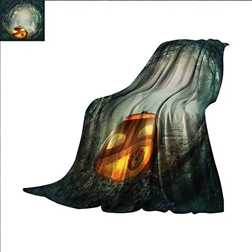 smallbeefly Halloween Digital Printing Blanket Drawing of Scary Halloween Pumpkin Enchanted Forest Mystic Twilight Party Art Summer Quilt Comforter 50
