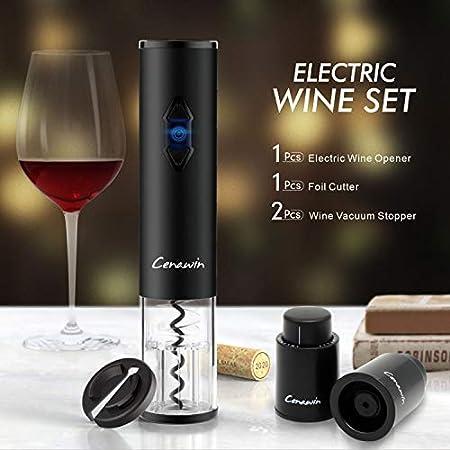 Juego de abrebotellas de vino eléctrico, sacacorchos automático de un clic+cortador de lámina de vino + 2 tapones de vacío para vino, se puede reutilizar 4 en 1 (negro, funciona con pilas)