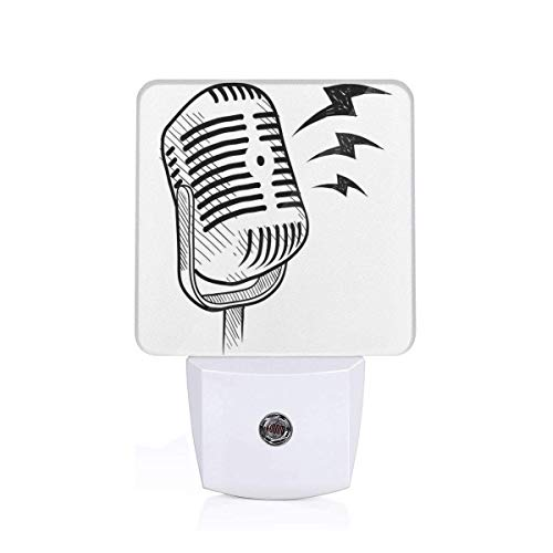 Colorful Plug in Night,Retro Microphone Communication and Media Concept Radio Show Speech Talk Podcast,Auto Sensor LED Dusk to Dawn Night Light Plug in Indoor for Childs Adults