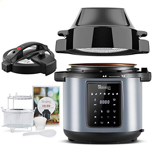 MICHELANGELO Air Fryer Pressure Cooker Combo 6QT, All-in-1 Pressure Cooker with Air Fryer – Two Detachable Lids for…