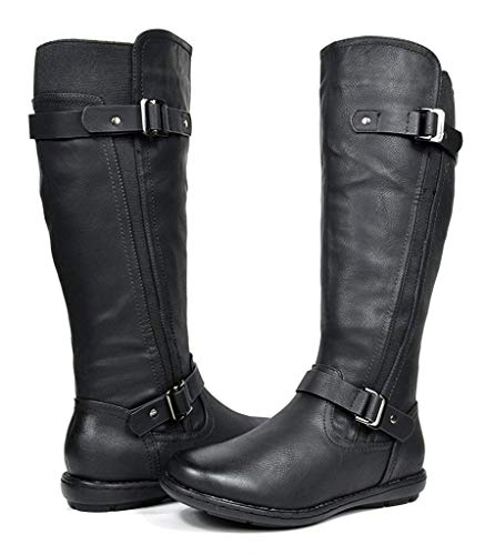 DREAM PAIRS Women's Trace Black Faux Fur-Lined Knee High Winter Boots Size 10 M US