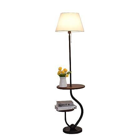 Lampada Piantana Moderna di Stile Minimalista Con Tavolino Lampada da Terra in Legno Home mall per Sala Studio Camera da Letto Soggiorno 51X35.5X142cm
