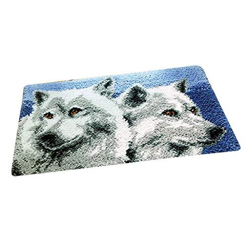 Baosity DIY Latch Hook Kit Carpet Rug Making Kit 20x12'' for Beginners Adults - Wolf ()