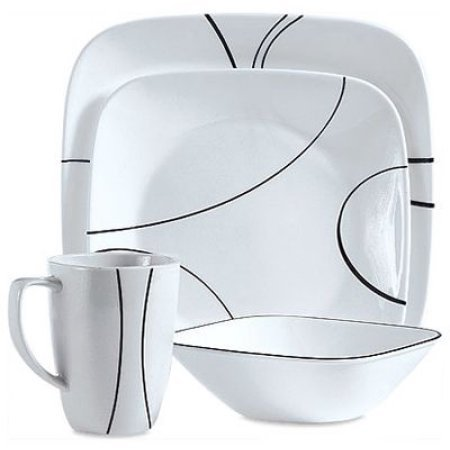 Corelle Squares Simple Lines 16-Piece Dinnerware (Square Simple Lines 16 Piece)