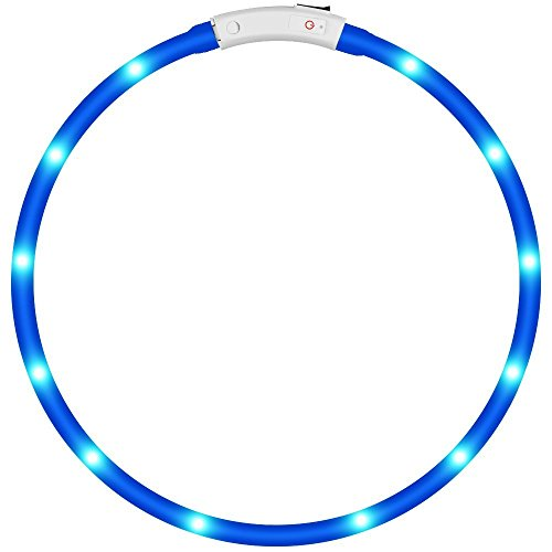 Pack Of 1 Pcs  Led Dog Collar  Keku Usb Rechargeable  Glowing Pet Dog Collar For Night Safety  Fashion Light Up Tube Flashing Tube Collar For Small Medium Large Dogs Blue