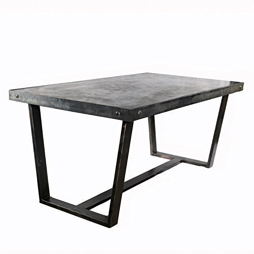Amazon.com: Concrete Slab Dining Table w/ Steel Wrapped Legs ...