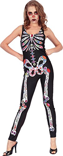 Adults Halloween Fancy Dress Club Party Costume Ladies Day Of The Dead Jumpsuit -