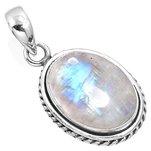 Natural Rainbow Moonstone Pendant 925 Sterling Silver Handmade Jewelry