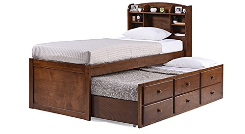 Urban Ladder Ateneo Single Wood Trundle Bed with Pull Out and Headboard Storage  Dark Walnut