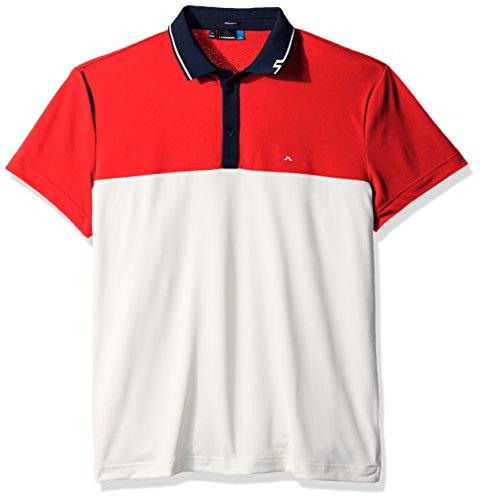 J.Lindeberg Men's Johan Torque Polo Shirt, Racing Red, L (Mens Polo Racing)