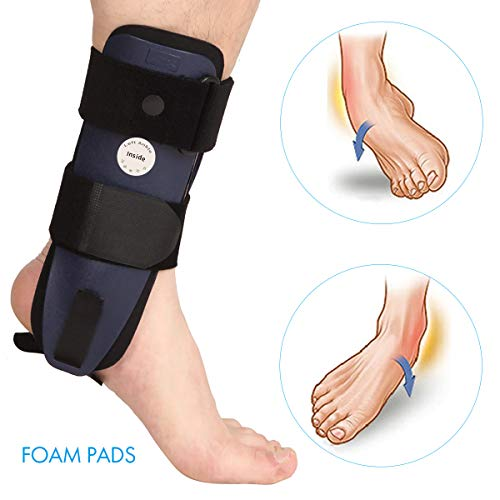 (Velpeau Ankle Brace - Stirrup Ankle Splint - Adjustable Rigid Stabilizer for Sprains, Strains, Post-Op Cast Support and Injury Protection (3-Dimensional Molded Pads, Large - Left Foot))