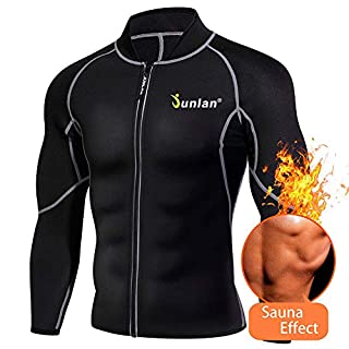 Junlan Men's Neoprene Weight Loss Sauna Shirt Suit Long Sleeve Hot Sweat Body Shaper Tummy Fat Burner Slimming Workout Gym Yoga (Black, XXXL)
