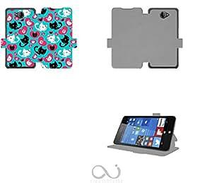 Chat plein d amour avec coeur Collection Pattern Funda de Cuero para Microsoft Lumia 650 Flip Case Cover (Estuche) PU Cuero - Accesorios Case Industry Protector