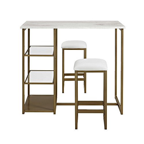 Dorel Living DA7700 Tanner 3-Piece Brass Pub Set with Faux Marble Top, White - Tanner Living Room