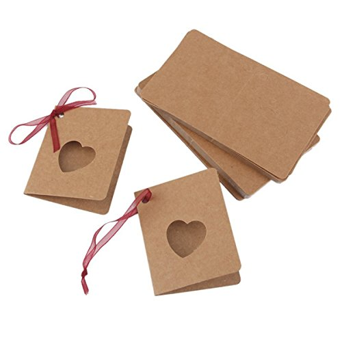 ULTNICE 50pcs Kraft Paper Lable Card Thank You Gift Tags with Red Rope for Wedding Birthday Party Decoration