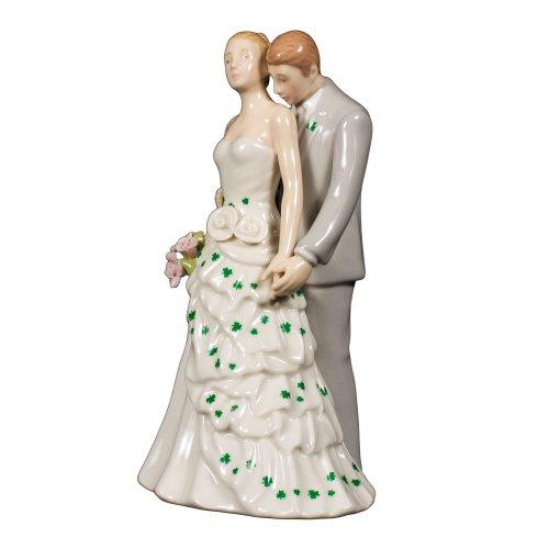 Shamrock Bride and Groom White Porcelain Wedding Cake Topper - 6 Celtic Wedding Cake