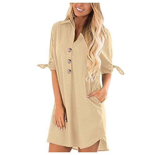 TOTOD Women Cotton Linen Blouse Casual Long Button Shirt 3/4 Roll Sleeve Solid Plain Lapel Pocket