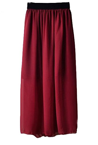 Abetteric Women's Solid Trend Chiffon Below the Knee Perspective Mid Skirt supplier