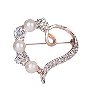 Women Heart Rhinestone Pearl Brooch Scarf Buckle Girls Alloy Breastpin Clothing Pin Small Jewelry Gifts