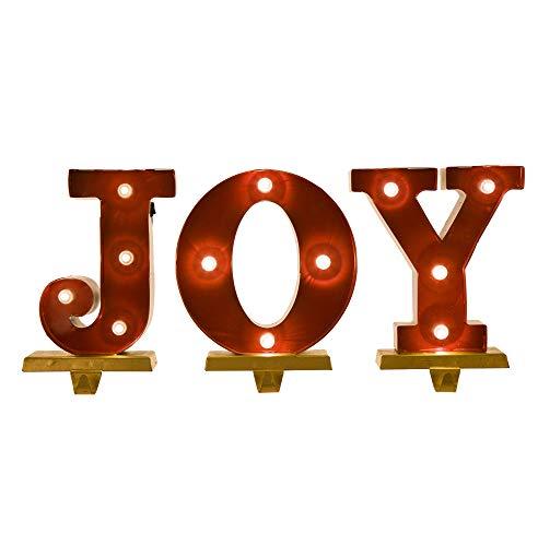 "Glitzhome Christmas Marquee LED Lighted Stocking Holder Seasonal Home Decor Joy, 8.46"" H"